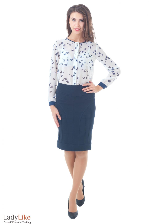 Купить юбку с шифоновой блузкой Деловая женская одежда