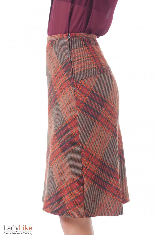 Купить теплую юбку в клетку Деловая женская одежда