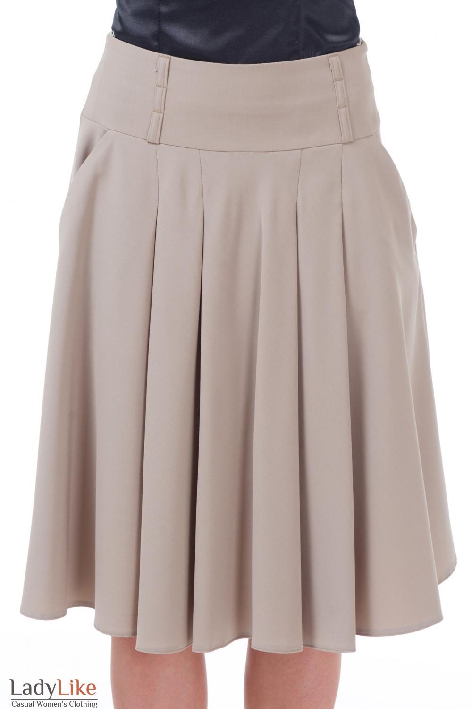 Юбка бежевая со складками и карманами Деловая женская одежда