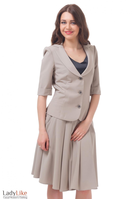 Купить бежевую юбку с жакетом Деловая женская одежда