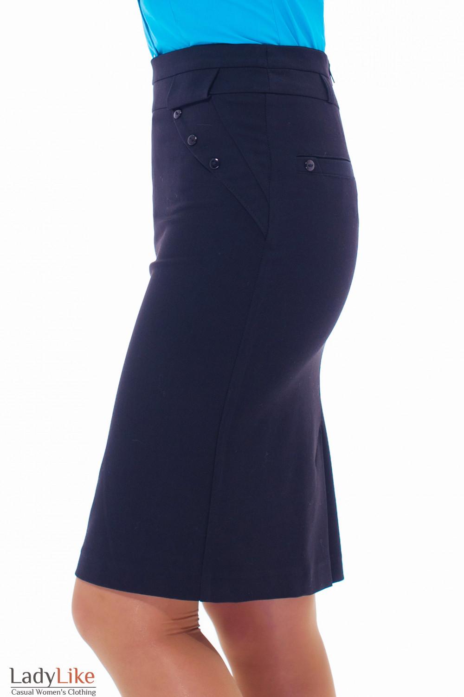 Юбка черная теплая с клапанами Деловая женская одежда
