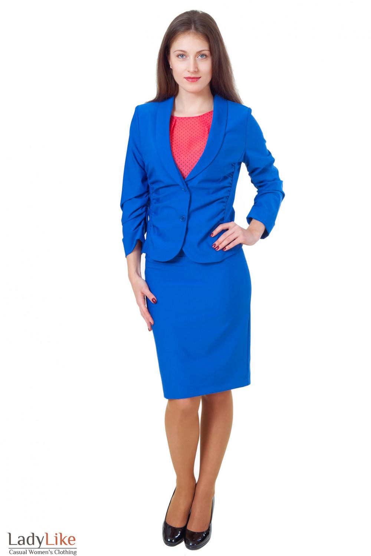 Купить синий костюм с юбкой Деловая женская одежда