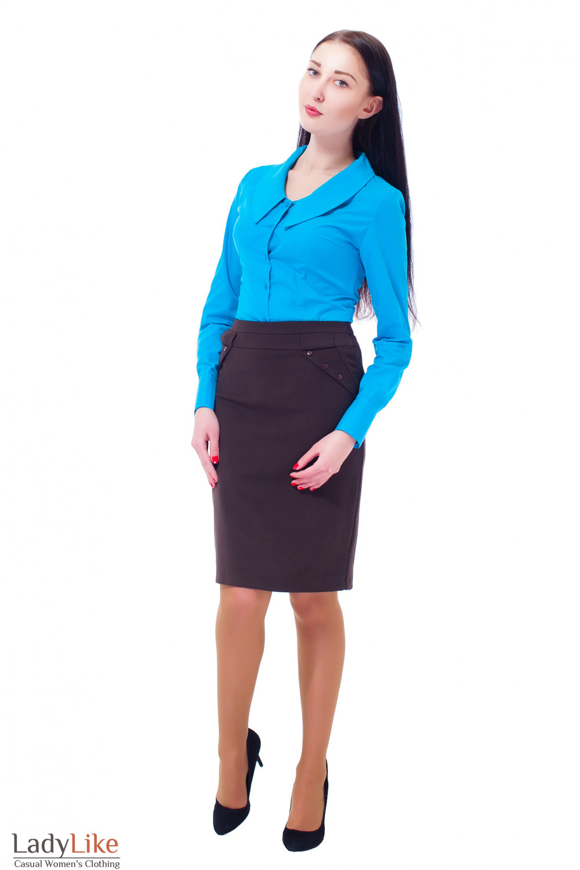 Купить юбку коричневую с пуговицами Деловая женская одежда