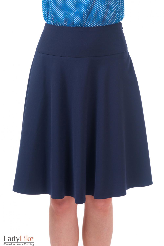 Юбка миди синяя Деловая женская одежда