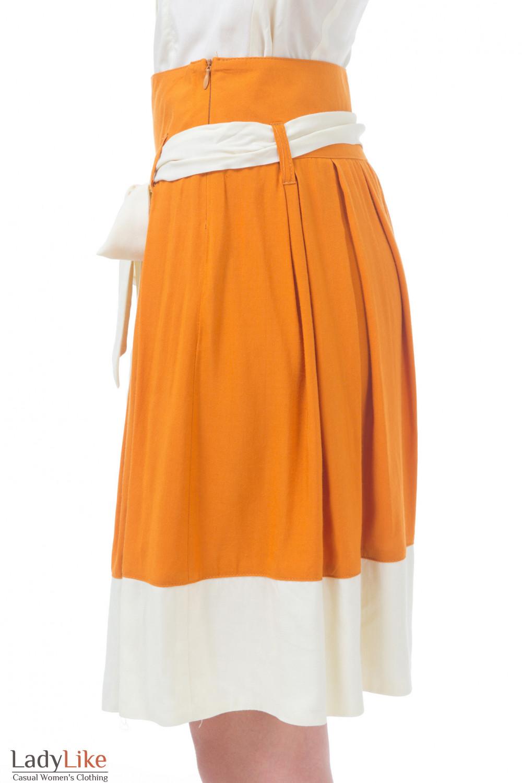 Купить рыжую юбку с молочным поясом Деловая женская одежда