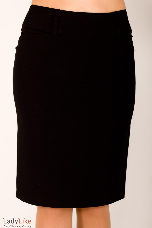 Фото Юбка с отстроченным поясом черная Деловая женская одежда
