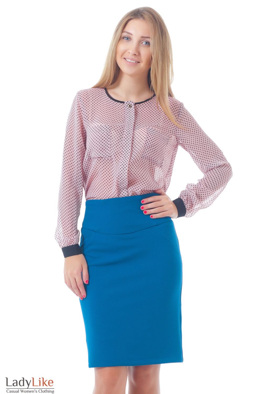 Купить юбку с блузкой в горошек Деловая женская одежда