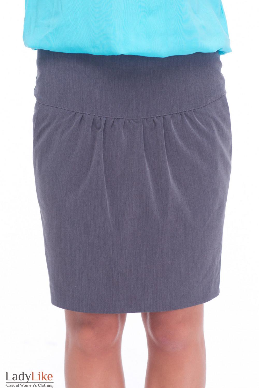 Юбка тюльпанчик серая с карманами Деловая женская одежда