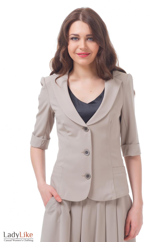 Жакет бежевый летний с рукавом в три четверти Деловая женская одежда