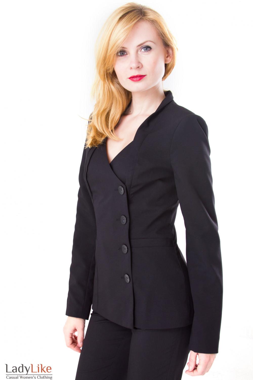 Фото Жакет черный удлиненный со стойкой Деловая женская одежда