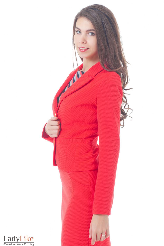 Жакет коралловый трикотажный Деловая женская одежда