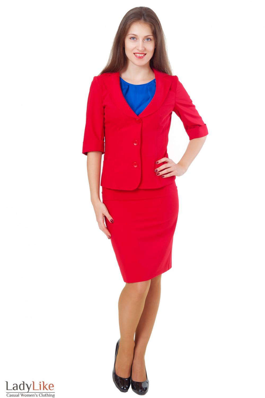 Купить красный костюм с юбкой Деловая женская одежда