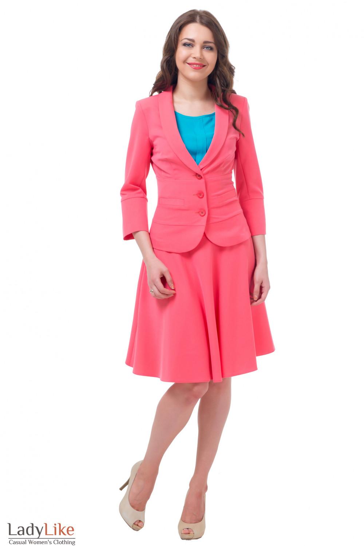 Купить розовый жакет с юбкой Деловая женская одежда