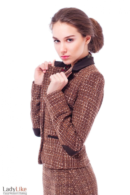 Жакет шерстяной коричневый Деловая женская одежда