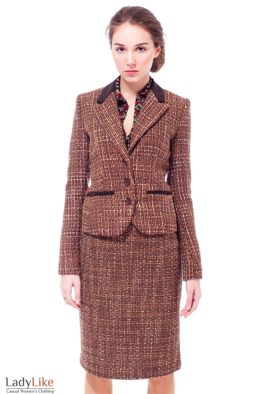 Костюм из буклированной шерсти Деловая женская одежда