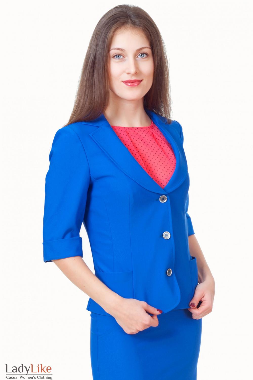 Жакет синий с коротким рукавом и карманами Деловая женская одежда