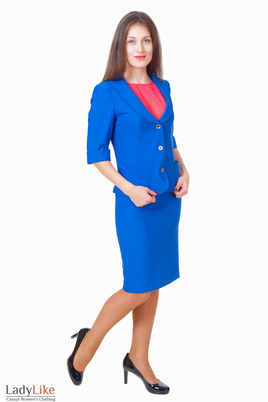 Купить жакет с синей юбкой Деловая женская одежда