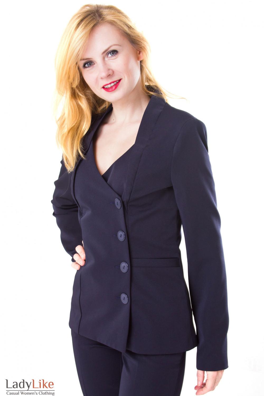 Фото Жакет темно-синий удлиненный со стойкой Деловая женская одежда