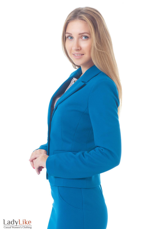 Жакет трикотажный бутылочного цвета Деловая женская одежда