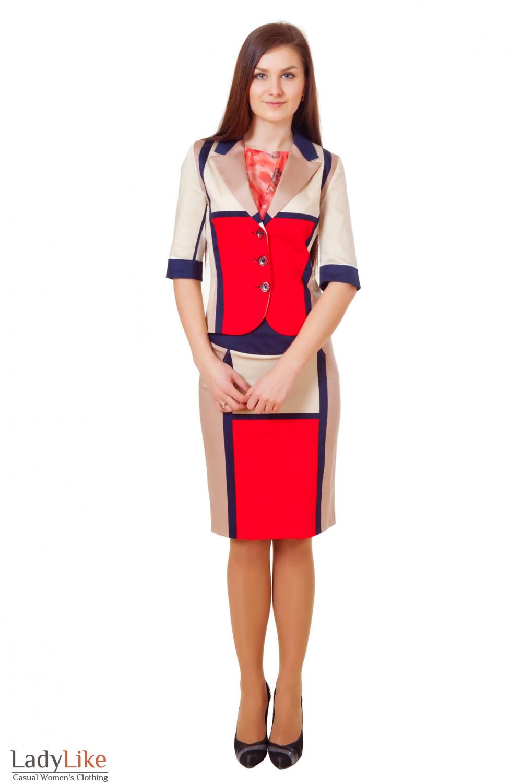 Купить летний костюм с юбкой Деловая женская одежда