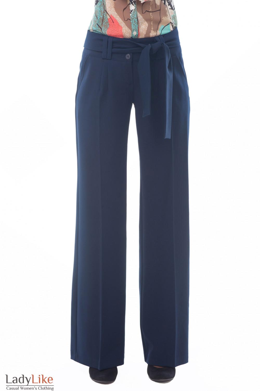 Женские синие брюки с поясом Деловая женская одежда