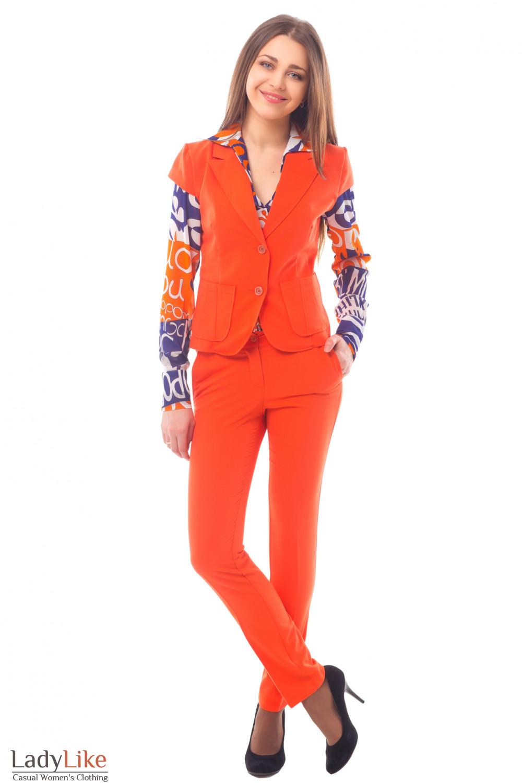 Купить оранжевый летний костюм Деловая женская одежда