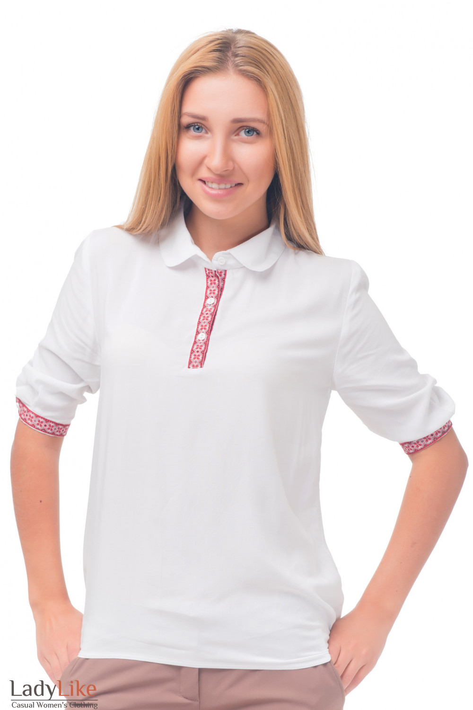 Белая блузка с красным орнаментом Деловая женская одежда