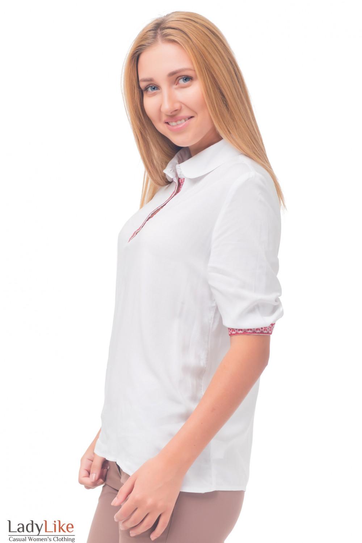 Купить белую блузку с красным орнаментом Деловая женская одежда