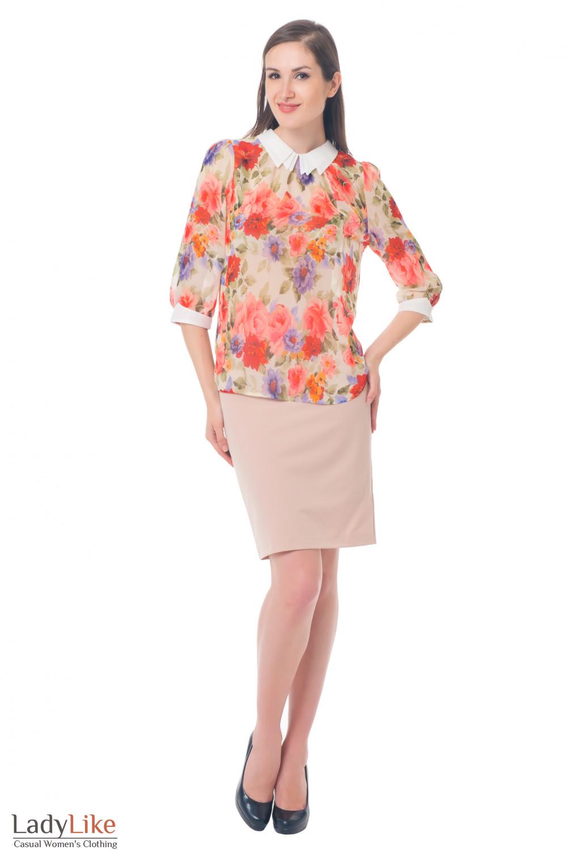 Купить бежевую юбку с высокой талией Деловая женская одежда