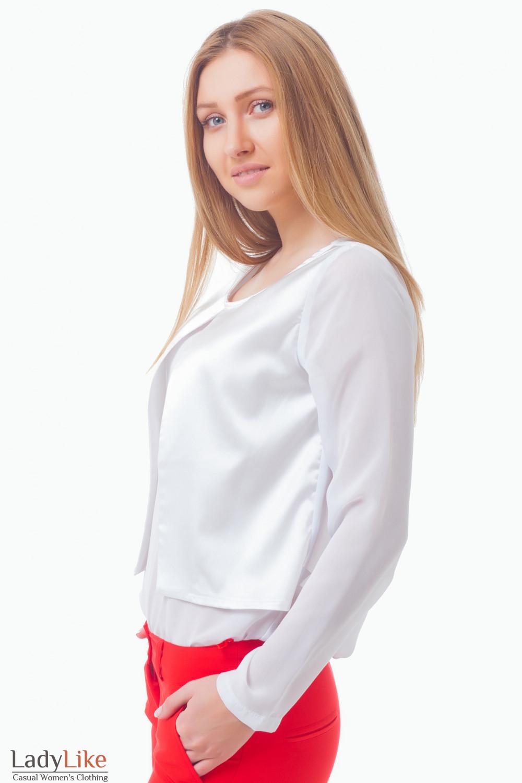 Купить блузку с атласной вставкой Деловая женская одежда