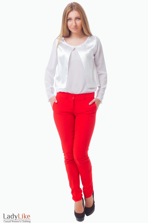 Купить шифоновую белую блузку Деловая женская одежда