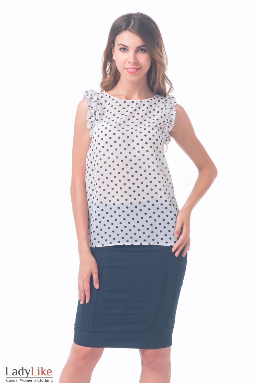 Купить блузку белая с рюшем на рукавах Деловая женская одежда