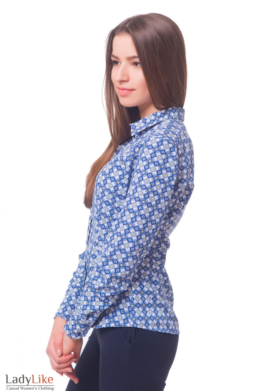 Купить блузку белую в синий узор Деловая женская одежда