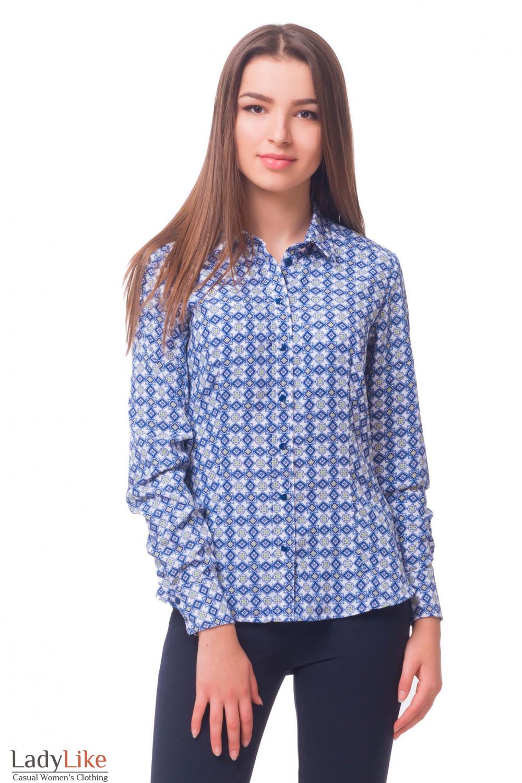 Купить блузку белую в синие ромбики Деловая женская одежда