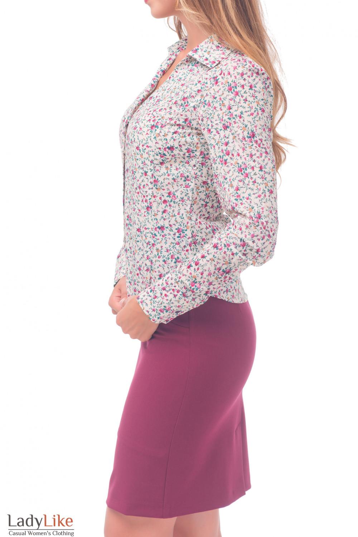 Купить блузку бежевую в мелкий цветочек Деловая женская одежда