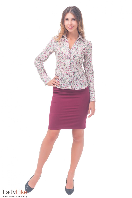 Купить блузку в мелкий цветочек Деловая женская одежда