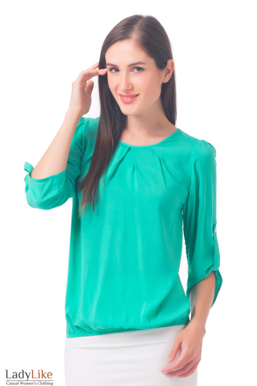 Блузка бирюзовая с защипами Деловая женская одежда