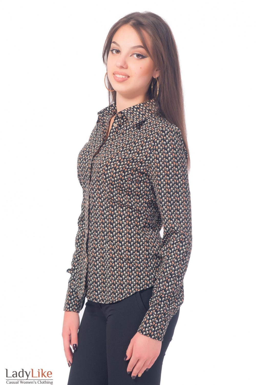 Купить блузку классическую черную в бежевый цветочек Деловая женская одежда