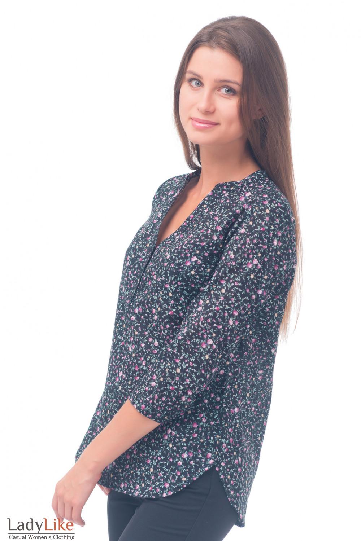Купить блузку черную в мелкий розовый цветочек Деловая женская одежда