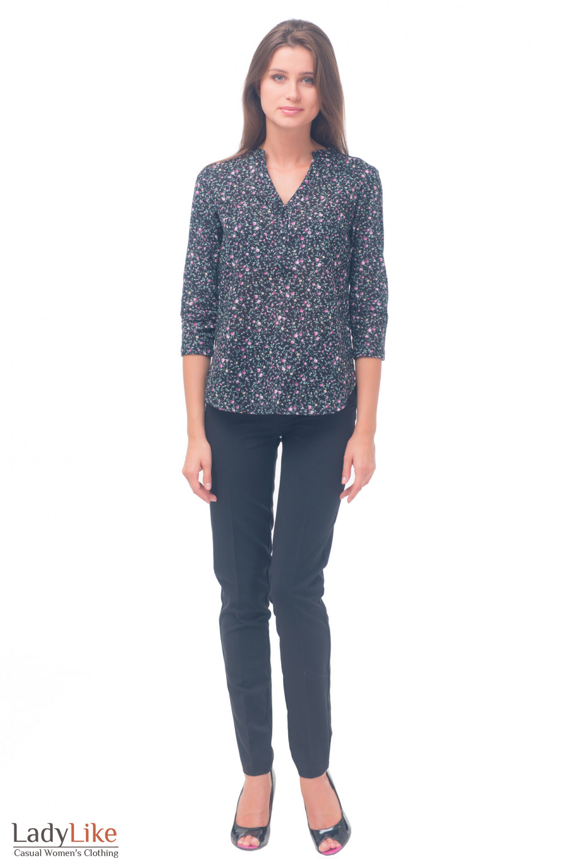 Купить блузку черную в  цветочек Деловая женская одежда
