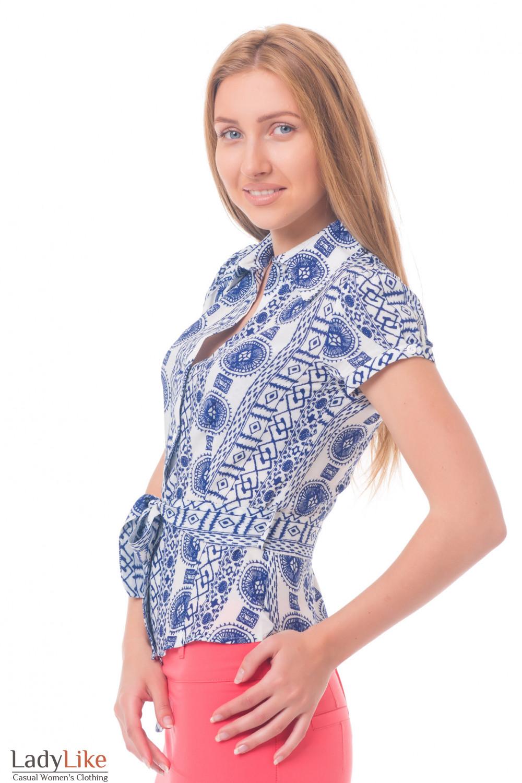 Купить блузку с синим узором Деловая женская одежда