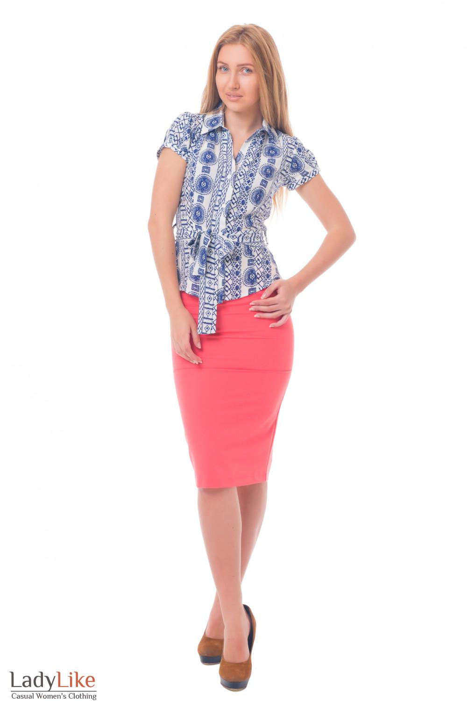 Купить летнюю блузку с поясом Деловая женская одежда