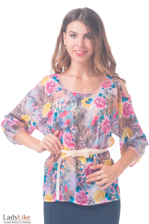 Блузка разноцветная с разрезами на плечах Деловая женская одежда