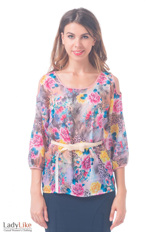 Купить блузку с разрезами на плечах Деловая женская одежда