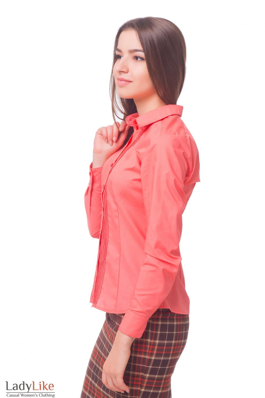 Купить блузку розовую с защипами впереди Деловая женская одежда