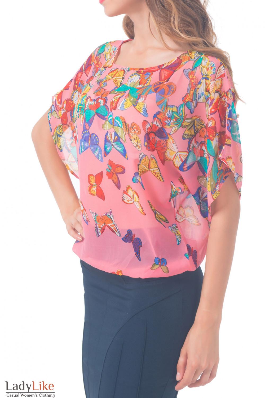 Купить блузку розовую в бабочки Деловая женская одежда