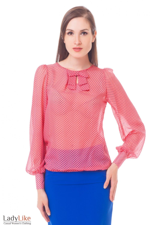 Блузка розовая в синий горошек Деловая женская одежда