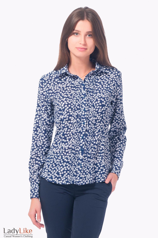 Купить блузку с защипами в белую ромашку Деловая женская одежда