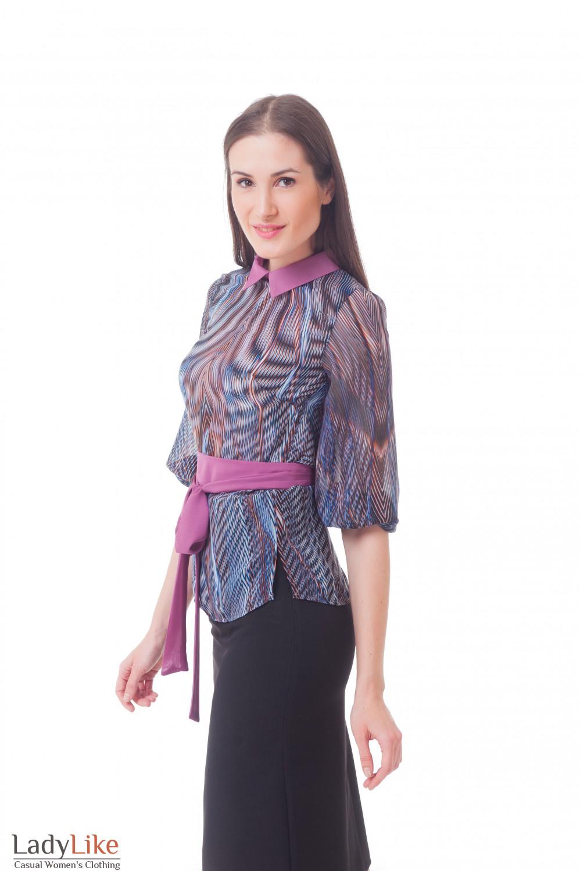 Купить блузку шифоновую с сиреневым поясом Деловая женская одежда