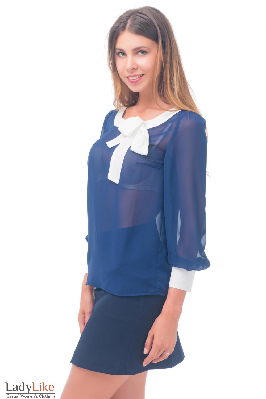 Купить юлузку темно-синюю с белой горловиной Деловая женская одежда